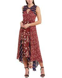 BCBGMAXAZRIA Mixed-print Asymmetric Dress - Red