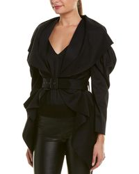 BCBGMAXAZRIA Ruffle Trench Coat - Black