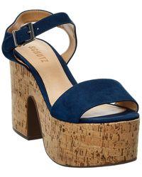 Schutz Tuke Suede Platform Sandal - Blue