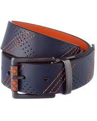 Robert Graham Libyan Reversible Leather Belt - Blue
