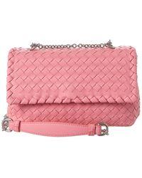 Bottega Veneta Baby Olimpia Intrecciato Leather Shoulder Bag - Pink