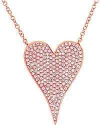 Diana M. Jewels . Fine Jewellery 14k Rose Gold 0.43 Ct. Tw. Diamond Heart Necklace - Pink