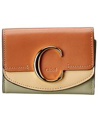 Chloé C Small Leather Trifold Wallet - Brown
