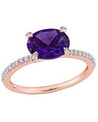 Rina Limor 10k Rose Gold 1.75 Ct. Tw. Diamond & African-amethyst Ring - Multicolour