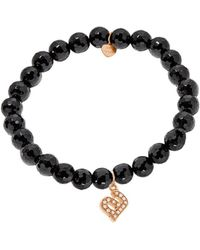 Jane Basch 14k Rose Gold Diamond & Onyx Initial Stretch Bracelet (a-z) - Black