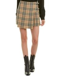 Burberry Vintage Check Wool Kilt - Natural