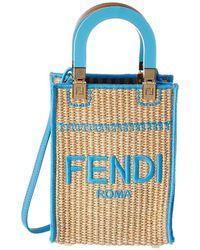Fendi Sunshine Mini Straw Tote - Blue