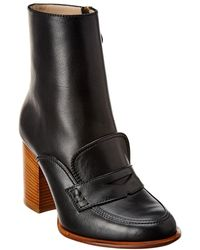 Loewe Leather Loafer Boot - Black