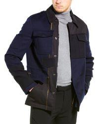Valentino Wool Military Coat - Blue