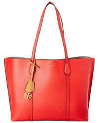 Tory Burch Perry Triple Compartment Leather Tote - Red