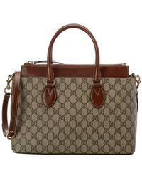 Gucci - Brown GG Supreme Canvas & Leather Tote - Lyst