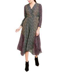 Rebecca Taylor Louisa Silk Midi Dress - Grey