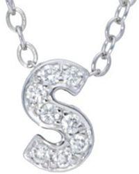 Nephora 14k Diamond Block Initial A-z Necklace - Metallic