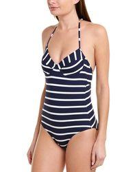 Shoshanna Striped Underwire One Piece Swimsuit - Blue