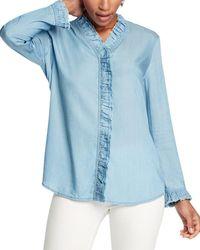 NIC+ZOE Ruffled Up Denim Shirt - Blue