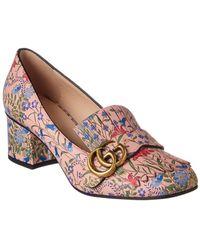Gucci Gg New Flora Printed Leather Mid-heel Pump - Purple