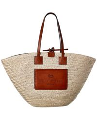 Etro Woven Straw & Leather Tote - Brown