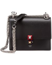 Fendi Kan I Small Leather Shoulder Bag - Black
