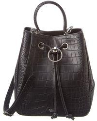 Mulberry Hampstead Croc-embossed Leather Bucket Bag - Black