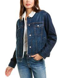 Rag & Bone Classic Denim Jacket Oversized Trucker Jacket - Blue