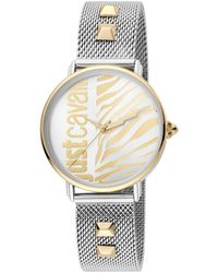 Just Cavalli Women's Animal Studded Mesh Strap Watch, 32mm - Metallic