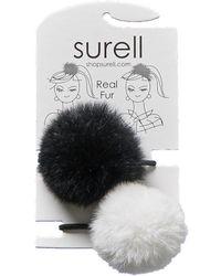 Surell Set Of 2 Pompom Hair Bands - Black