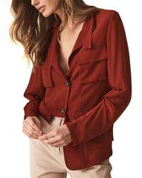 Reiss Sabri Utility Sheer Shirt - Red
