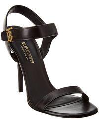 Burberry Monogram Motif Leather Sandal - Black