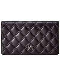 Chanel Black Quilted Lambskin Leather Long Wallet