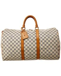 Louis Vuitton Damier Azur Canvas Keepall 50 - Brown