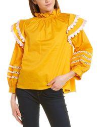 Cynthia Rowley Elia Scallop Embroidered Top - Yellow