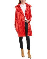 Burberry Kensington Hooded Nylon Trench Coat - Red