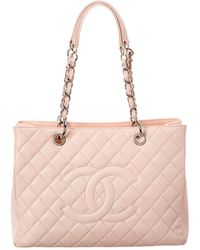 Chanel Pink Quilted Caviar Leather Grand Shopping Tote