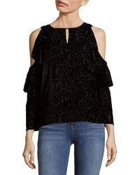Nanette Lepore Cascade Cold Shoulder Top - Black
