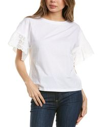 Brooks Brothers - Eyelet Ruffle Top - Lyst