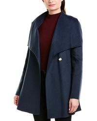 Laundry by Shelli Segal Asymmetrical Wrap Wool-blend Coat - Blue
