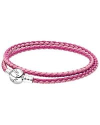 PANDORA Jewellery Charm Carrier Pink & Silver Braided Double Leather Charm Bracelet