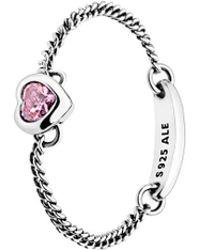 PANDORA - Silver & Pink Cz Spirited Heart Ring - Lyst