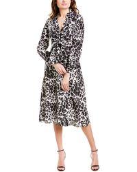 Diane von Furstenberg Donika Printed Silk Midi Dress - Grey