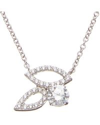 Fantasia by Deserio Cz Open Leaf Pendant Necklace - Metallic