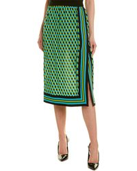 Michael Kors Silk Pencil Skirt - Green
