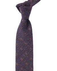 Canali Purple Floral Medallion Silk & Wool-blend Tie
