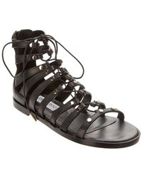 Jimmy Choo Gigi Stud Embellished Vachetta Leather Sandal - Black