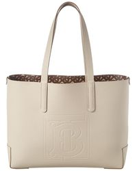 Burberry Medium Tote In Limestone Calfskin - Multicolour