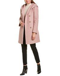 Cole Haan Signature Asymmetrical Wool-blend Coat - Pink