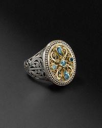 Konstantino 18k & Silver 1.00 Cttw. Blue Topaz Ring - Metallic