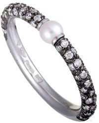 Mikimoto 18k & Rhodium 0.35 Ct. Tw. Diamond & Pearl Ring - Metallic