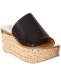 Chloé Camille Leather Wedge Mule - Black