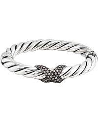 David Yurman - David Yurman X Silver 0.75 Ct. Tw. Diamond Bangle Bracelet - Lyst