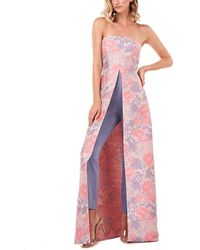 Kay Unger Mila Floral Jacquard Walk Thru Jumpsuit - Pink